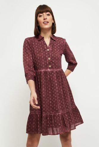MAX Textured Three-Quarter Sleeves A-line Dress