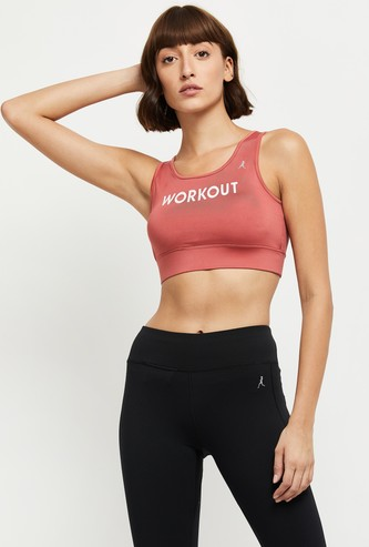 MAX Typographic Print Sports Bra with Criss-Cross Back