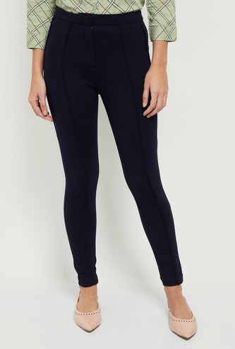 MAX Solid Solid Mid-Rise Ponte Pants with Button Closure