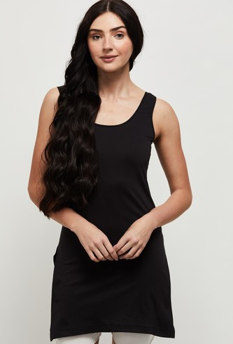 MAX Solid Round Neck Long Camisole