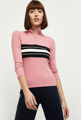 MAX Ribbed T-shirt with Turtle Neck and Zip Closure