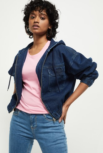 MAX Solid Denim Hooded Jacket