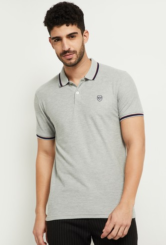 MAX Solid Polo Neck Slim Fit T-shirt
