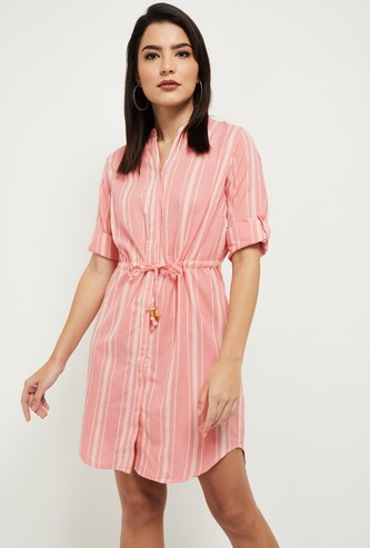 MAX Striped Notched Neck Dress with Tie-Ups