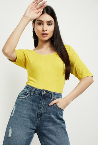 MAX Solid Round Neck T-shirt