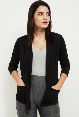 MAX Solid Open Front Shrug with Pockets