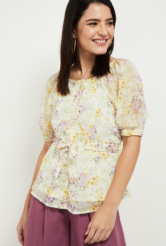 MAX Floral Print Top with Front-Knot Accent