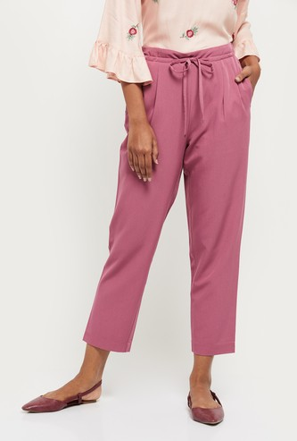 MAX Solid Drawstring Waist Casual Trousers