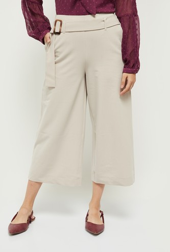 MAX Solid Cropped Trousers