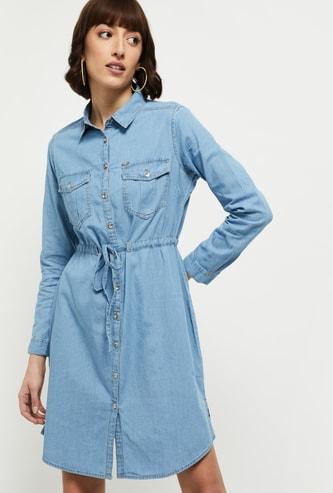 MAX Solid Denim Shirt Dress