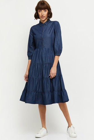 MAX Solid Puffed Sleeves Tiered Denim Dress