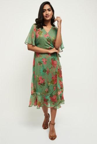 MAX Printed Chiffon Wrap Knit Dress