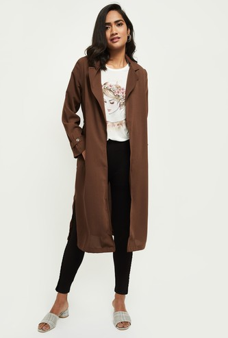 MAX Solid Notch Lapel Longline Jacket