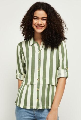 MAX Striped Spread Collar Casual Shirt