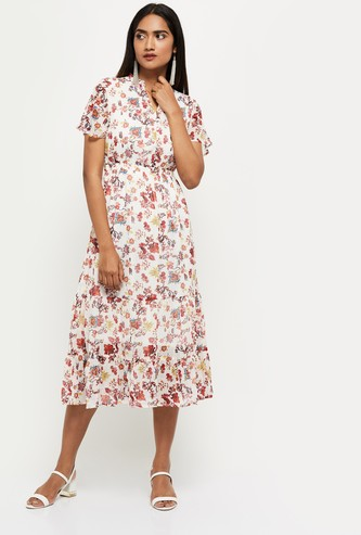 MAX Printed All-Over Print Tiered Dress