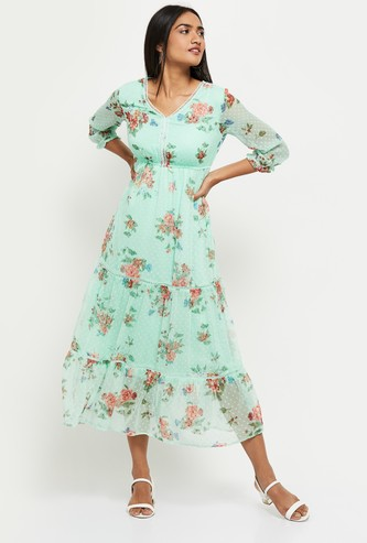 MAX Floral Print Tiered A-line Dress