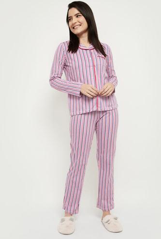 MAX Striped Lounge Shirt with Pyjamas