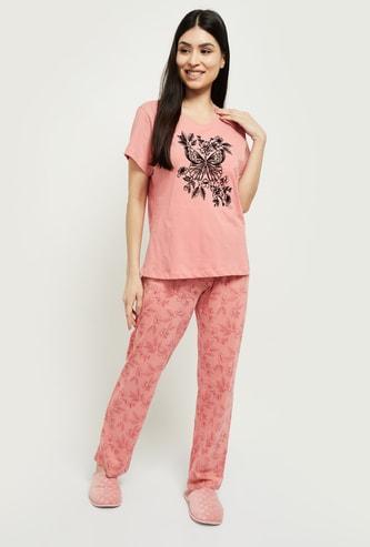 MAX Printed Round Neck T-shirt with Elasticated Pyjamas