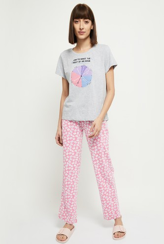 MAX Printed Round Neck T-shirt with Elasticated Pyjama