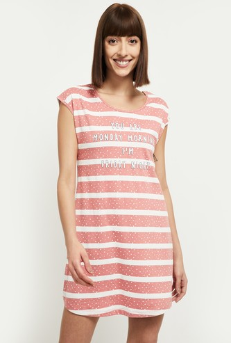 MAX Striped Cap Sleeves Chemise