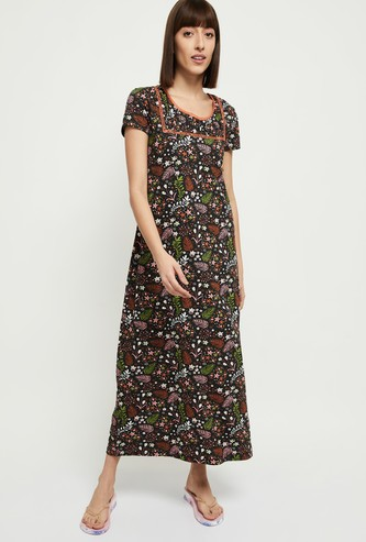 MAX Floral Print Short Sleeves Nightgown