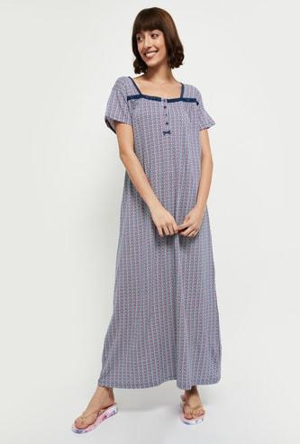 MAX Printed Short Sleeves Nightgown