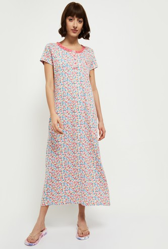 MAX Printed Round Neck Night Gown