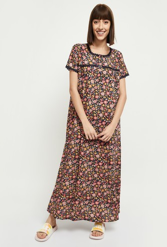 MAX Floral Print Short Sleeves Night Gown
