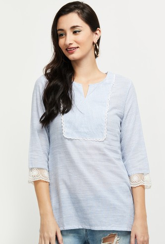 MAX Striped Notched Neck Short Kurta with Lace Trim