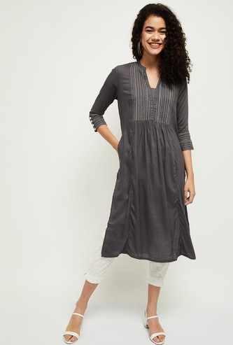 MAX Embroidered Notched Neck Straight Kurta