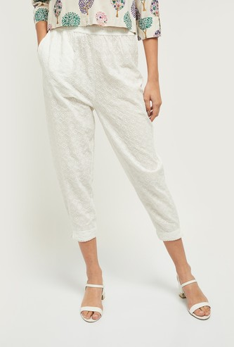 MAX Embroidered Woven Cropped Straight Pants