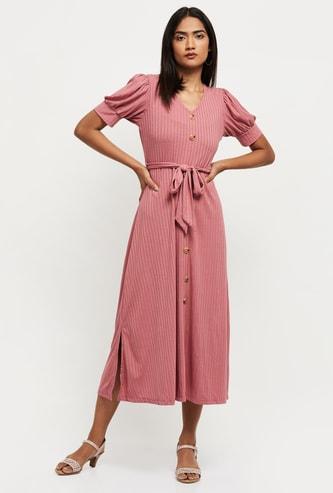 MAX Textured Short Sleeves Midi Dress
