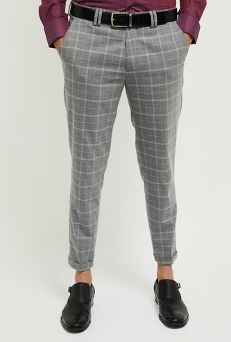 MAX Checked Carrot Fit Formal Trousers