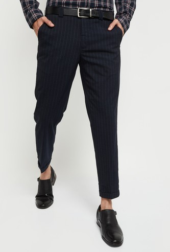 MAX Striped Carrot Fit Formal Trousers