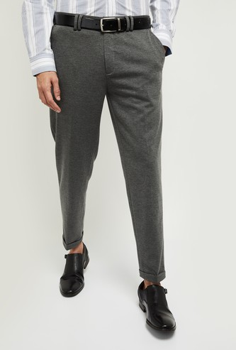 MAX Textured Carrot Fit Formal Trousers