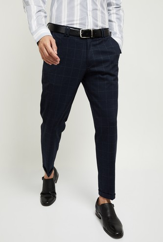 MAX Checked Carrot Fit Knit Formal Trousers