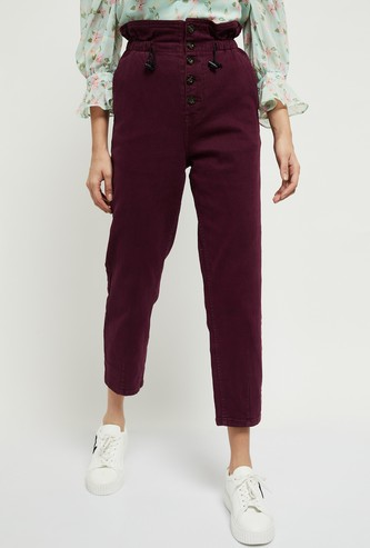 MAX Solid Paperbag Waist Casual Trousers