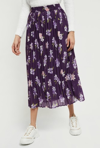 MAX Printed Elasticated Waist Flared Skirt