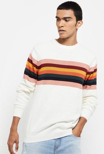 MAX Striped Slim Fit Crew Neck Sweater