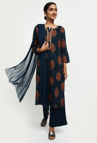 MAX Embroidered Straight Kurta with Solid Dupatta and Palazzos