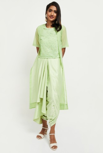 MAX Embroidered Round Neck Top With Dhoti Pants and Gilet