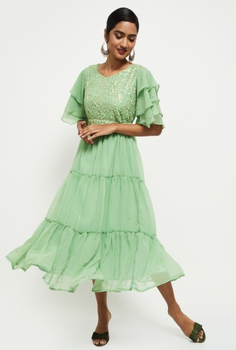 MAX Embroidered Tiered A-line Dress