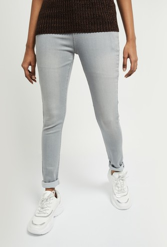 MAX Solid Light-Washed Skinny Fit Jeans