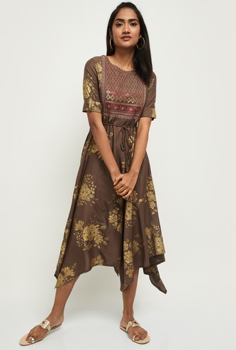 MAX Embroidered Round Neck Asymmetric Dress