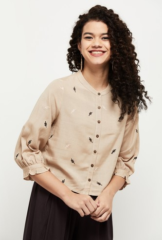 MAX Embroidered Ethnic Woven Top