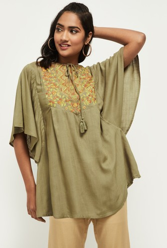 MAX Embroidered Batwing Sleeves Fusion Top