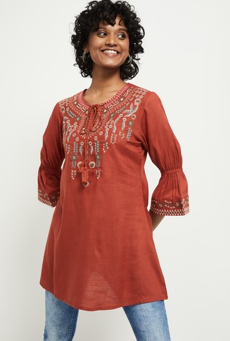 MAX Floral Embroidered Woven Tunic