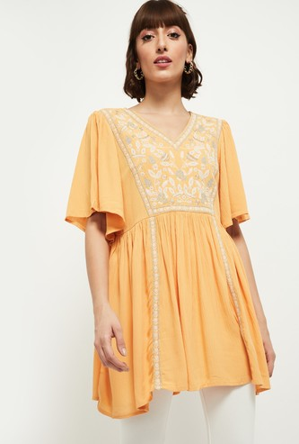 MAX Embroidered Flutter Sleeves Tunic