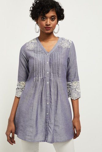 MAX Textured Tunic with Lace Inserts