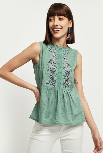 MAX Embroidered Flared Top